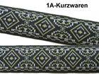10m Borte Webband 20mm breit Farbe: Schwarz-Kaki-Weiss