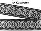 10m Brokat Borte Webband Elbenblatt 20mm breit Farbe: Schwarz-Silber