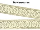 10m Brokat Borte Webband Elbenblatt 20mm breit Farbe: Weiss-Gold