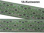 10m Brokat Borte Webband 20mm breit Farbe: Grün-Schwarz-Silber