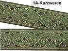 10m Brokat Borte Webband 20mm breit Farbe: Grün-Schwarz-Gold