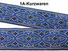 10m Brokat Borte Webband 20mm breit Farbe: Blau-Schwarz-Gold