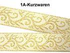 10m Brokat Borte Webband 20mm breit Farbe: Weiss-Gold