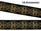 10m Mittelalter Borte Webband 20mm Farbe: Schwarz-Gold