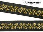 10m Mittelalter Borte Webband 20mm Farbe: Schwarz-Lurex-Gold