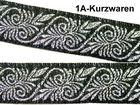 10m Mittelalter Borte Webband 20mm breit Farbe: Schwarz-Silber