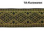 10m Mittelalter Borte Webband 35mm Farbe: Lurex-Gold-Schwarz