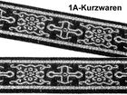 10m Mittelalter Borte Webband KreuzBorte Webband 25mm Farbe: Schwarz-Silber