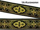 10m Mittelalter Borte Webband KreuzBorte Webband 25mm Farbe: Schwarz-Gold