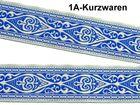 0,99m Landhaus Mittelalter Trachten Borte Webband 33mm breit Farbe: Blau-Beige