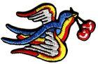 Applikation Tribal Schwalbe mit Kirschen 8 x 5cm