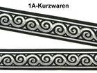 10m Jacquard Borte Webband 22mm breit Farbe: Schwarz-Silber