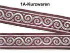 10m Jacquard Borte Webband 22mm breit Farbe: Bordeaux-Silber