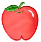 Applikation Patch Sticker Apfel 7,5 x 7,8cm Farbe: Rot-Weiss
