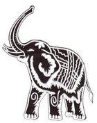 1 Stück Applikation Elefant 10,5 x 12,5cm Farbe: Schwarz-Weiss VOR48-7