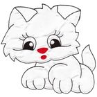 Applikation Katze 18 x 17cm Farbe: Weiss VOR50-1