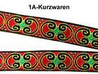 22m Borte Webband 12mm breit Farbe: Grün-Rot-Schwarz-Gelb