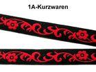 22m Blumen-Borte Webband 12mm breit Farbe: Rot-Schwarz