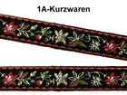 22m Blumen Borte Webband 12mm breit Farbe: Rot-Schwarz-Grün