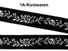 22m Blumen-Borte Webband 12mm breit Farbe: Schwarz-Lurex-Silber