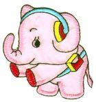 Applikation Elefant 7 x 6,5cm Farbe: Rosa VOR51-8