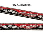 22m Borte Webband 12mm Farbe: Rot-Schwarz-Silber TH18-11