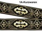10m Kreuz-Borte Webband 35mm breit Farbe: Schwarz-Gold