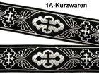 10m Kreuz-Borte Webband 35mm breit Farbe: Schwarz-Silber
