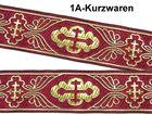 10m Kreuz-Borte Webband 35mm breit Farbe: Bordeaux-Gold