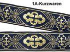 10m Kreuz-Borte Webband 35mm breit Farbe: Dunkelblau-Gold