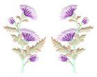 1 Paar Applikationen Disteln 7,5 x 12cm Trachten Wiesn Farbe: Violett hell