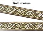 10m Jacquard Borte Webband 33mm breit Farbe: Braun-Gold