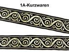 10m Jacquard Borte Webband 33mm breit Farbe: Schwarz-Gold