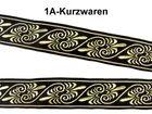 10m Jacquard Borten Webband 16mm breit Farbe: Schwarz-Gold