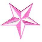 Patch Nautik-Stern Farbe: Weiss-Pink Durchmesser 9cm