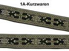 10m Kreuz-Borte Webband 22mm breit Farbe: Gold-Schwarz