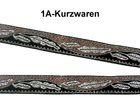 22m Borte Webband 12mm Farbe: Hellbraun-Schwarz-Silber TH18-14