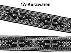 10m Kreuz-Borte Webband 22mm breit Farbe: Schwarz-Silber