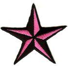 Applikation Nautikstern Farbe: Schwarz-Pink 22,5 x 22,5cm