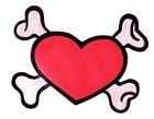 Applikation Patch Herz mit Knochen zum Aufbügeln 20,5 x 15,5cm
