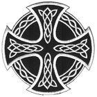 Applikation Tribal keltisches Kreuz 9,5cm Farbe: Schwarz-Weiss