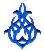 Applikation Patch Tribal 7,5 x 9,5cm Farbe: Blau