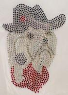 Bügelmotiv Strass Hund Westi mit Hut 12 x 16,5 cm