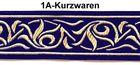 10m Renaissance Fleur Borte Webband 35mm Farbe: Dunkelblau-Gold