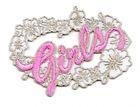 """1 Sticker """"Girls"""" zum Aufbügeln 7 x 5cm Farbe: Weiss-Pink"""