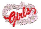 "1 Sticker ""Girls"" zum Aufbügeln 7 x 5cm Farbe: Rosa-Rot"