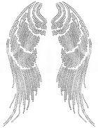 Bügelmotiv Bügelbild Strass Flügel 25 x 31 cm
