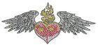 Bügelbild Herz mit Flügel 28 x 12,5 cm