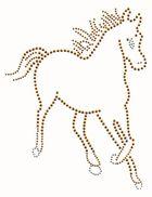 Applikation Bügelmotiv Strass Pferd 16,5 x 21 cm