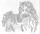 Applikation Bügelmotiv Strass Pferd 16 x 14 cm